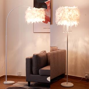 钓鱼落地灯羽毛灯卧室床头立式台灯ins风北欧创意客厅主播补光灯图片