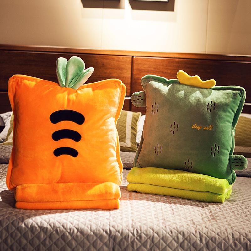 办公室抱枕被子两用靠枕汽车内靠垫毯子午睡枕头多功能三合一神器