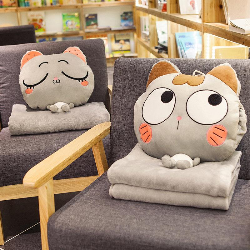午睡枕头车载抱枕被子两用靠枕毯子三合一办公室午休神器汽车睡觉