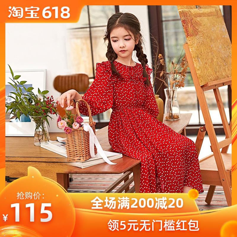 女童连衣裙儿童裙子红色雪纺长袖2019新款春大童小女孩韩版超洋气
