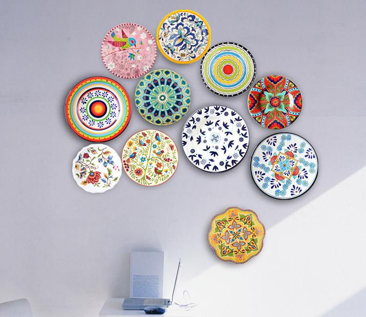 手绘欧式美式盘子墙瓷盘挂盘壁饰墙背景墙客厅餐厅摆件创意装饰盘