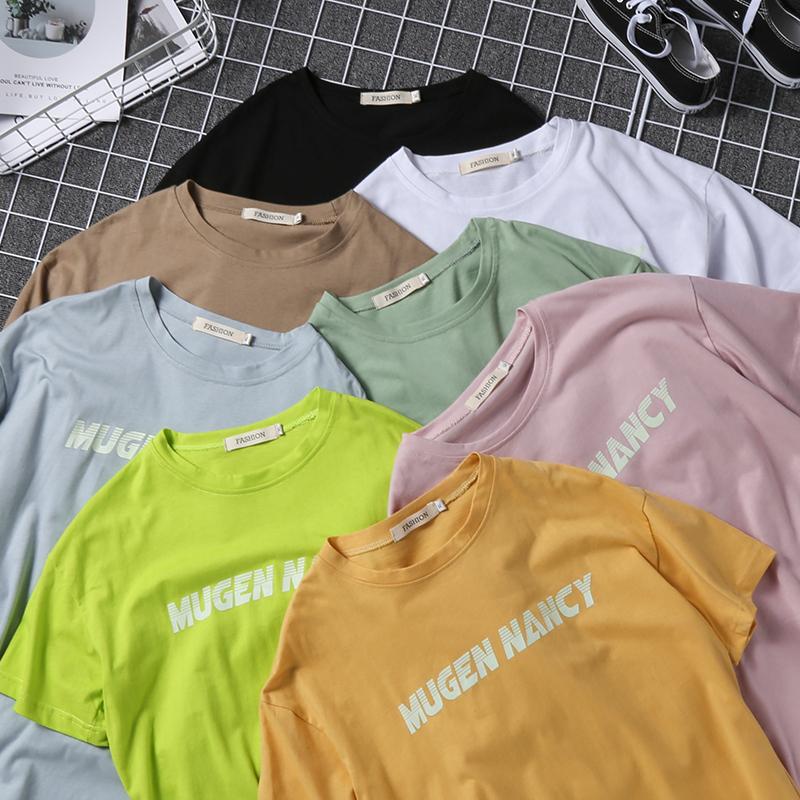 19爆款!全棉多色夜光字母港风休闲男女同款半袖T恤 T011-P25
