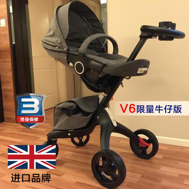 Импорт марка Douxbebe V4 высокий пейзаж ребенок тележки четырехколесный амортизатор может сидеть можно лечь