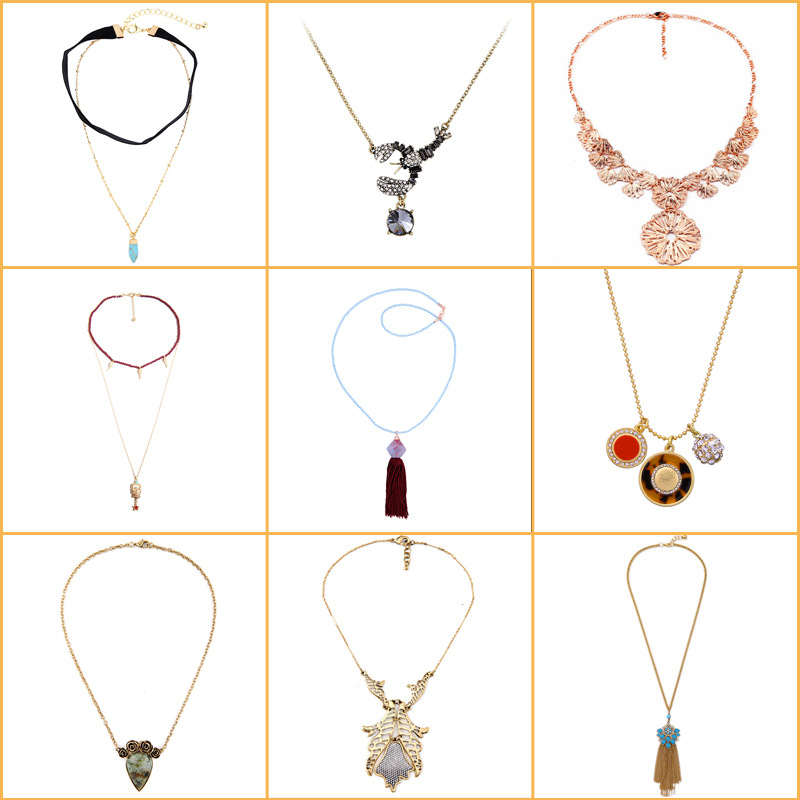 European and American fashion exquisite jewelry retro long hollow pendant tassel womens sweater Necklace