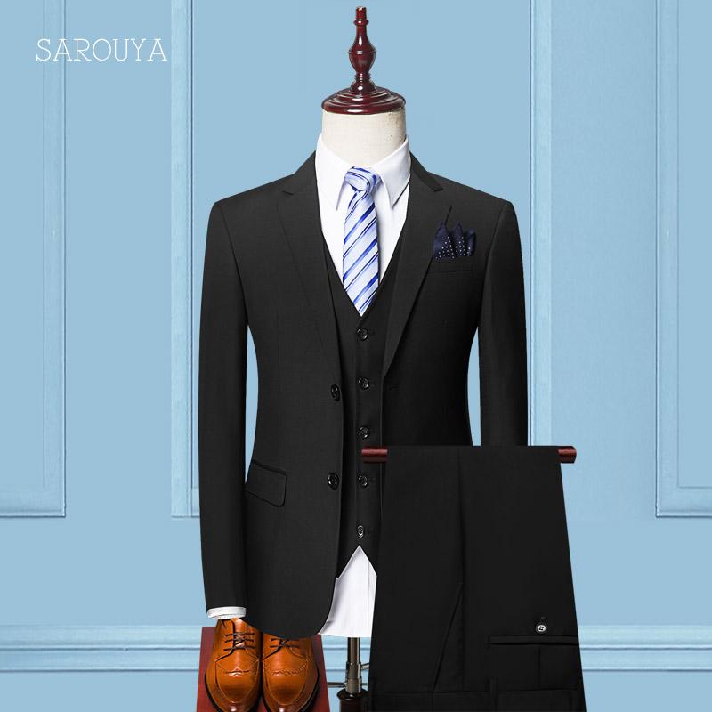 西服套装男士三件套秋季修身型职业商务正装伴郎西装新郎结婚礼服