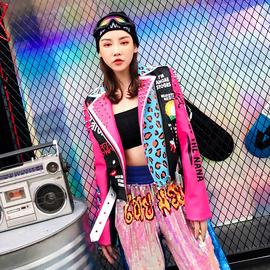 春季新品泰国潮牌重工铆钉豹纹字母涂鸦印花垫肩修身机车皮衣外套