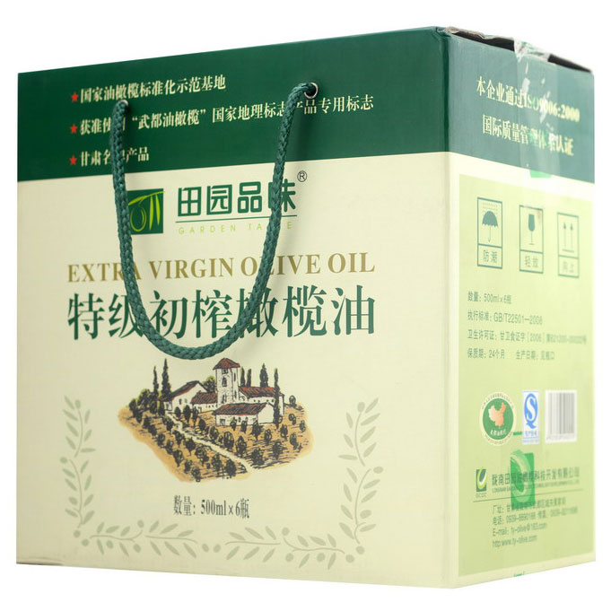Domestic products of Wudu, Longnan, Gansu Province, green countryside taste, extra virgin olive oil 500ml * 6 in a box