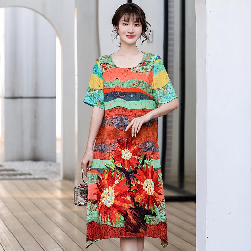 女装妈妈夏装新款连衣裙洋气时尚中年春装高贵夫人裙子F1546/P85
