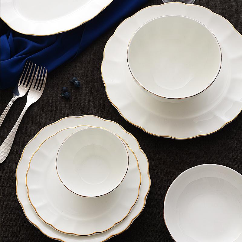 欧式碗碟套装28头家用套餐餐具6人西式骨瓷餐具套装结婚餐具