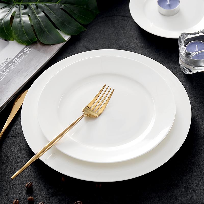 骨瓷陶瓷纯白餐具盘子碟子平盘水果盘西餐具盘牛排盘菜盘日式平盘