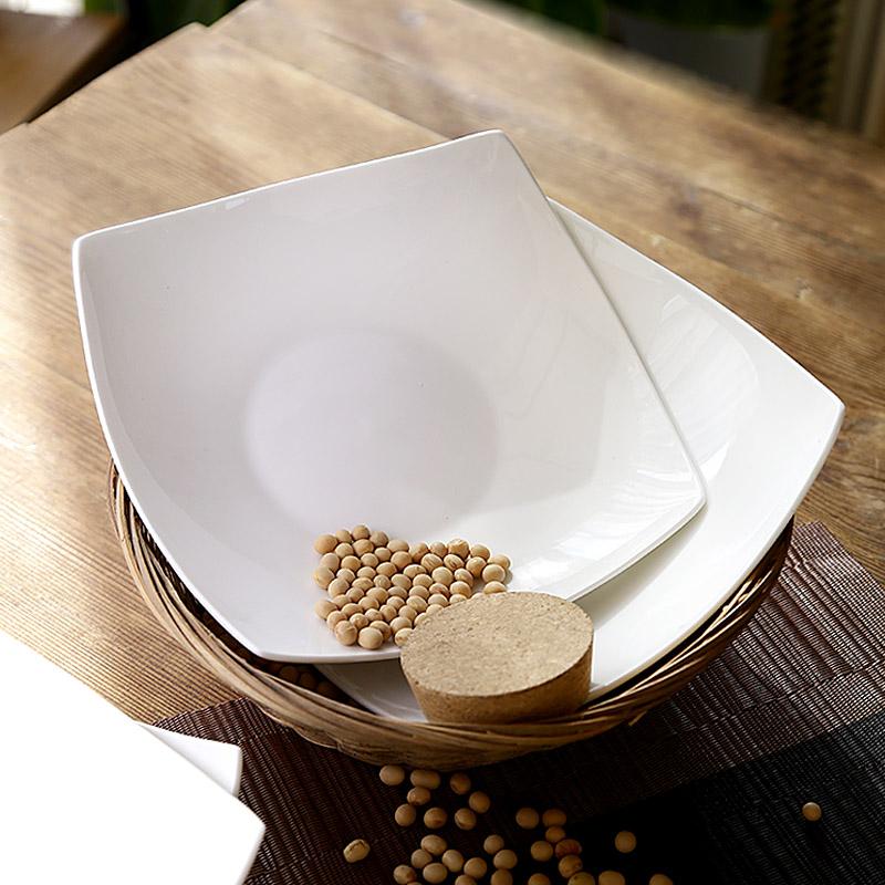 20.80元包邮创意四方瓷盘子纯白色陶瓷凉菜盘子