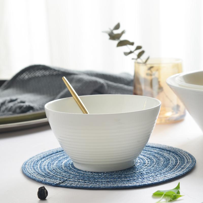 白瓷碗喇叭碗深碗纯白色骨瓷碗家用水果沙拉碗螺纹碗日式陶瓷碗