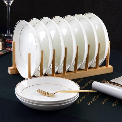 盘子10个装 欧式金边盘子7英寸菜盘白瓷盘简约家用饭盘骨瓷盘子