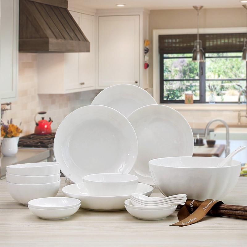 纯白欧式骨瓷餐具套装碗盘简约家用西式4人家庭22头陶瓷餐具套餐