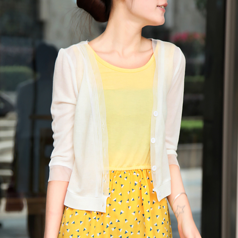 薄款开衫女针织衫夏季外搭短款小披肩空调衫针织外套上衣防晒衣女