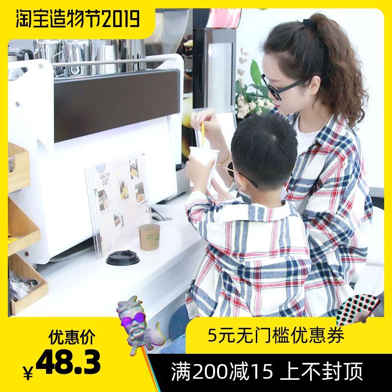 2019秋装新款不一样的亲子装母子母女装一家三口纯棉洋气格子衬衫