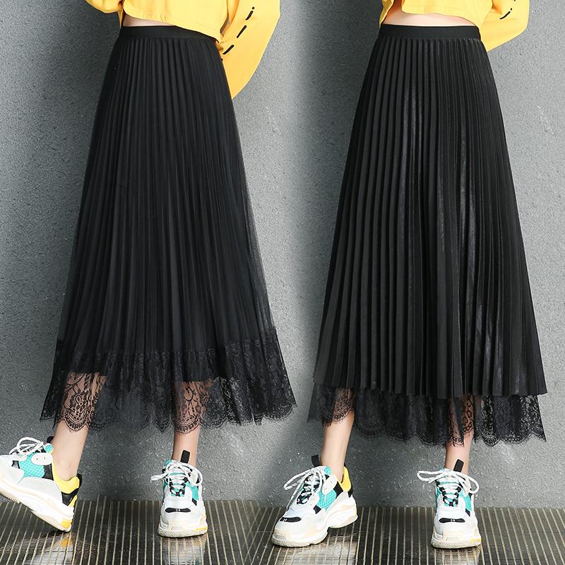 Double side mesh lace skirt 2020 new Korean medium length pleated skirt double side fairy dress fashion