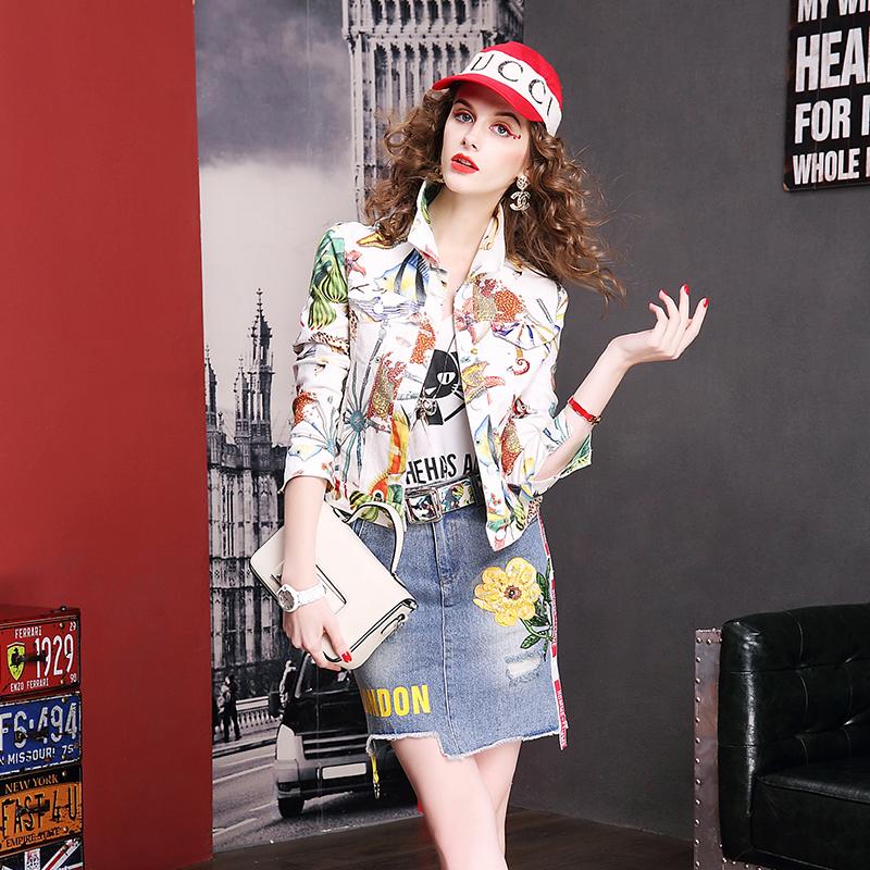 彦欧春装2018新款印花时尚短款牛仔外套女欧洲站百搭修身上衣女装