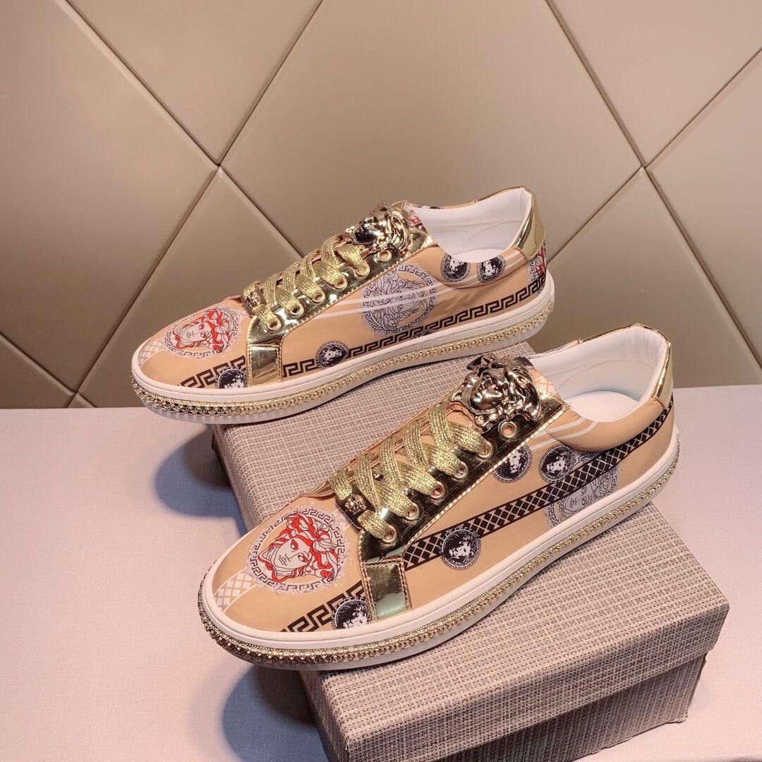春季美杜莎欧洲站美人头印花板鞋百搭休闲真皮帆布系带男鞋板鞋