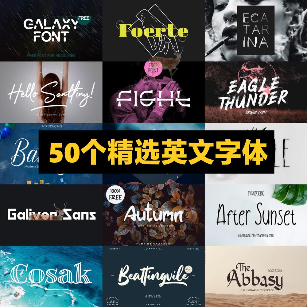 50个素雅手写时尚艺术英文字体PS AI广告标题设计字库MAC素材 T30