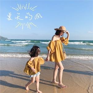女童一字肩上衣夏装沙滩时尚韩版网红亲子装母女装洋气夏海边度假