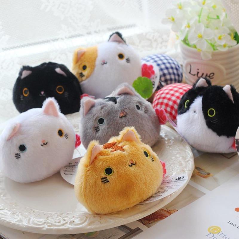 萌日本靴下猫豆沙包团子小猫咪龙猫手掌捏脸粉团饭团猫公仔樱花猫