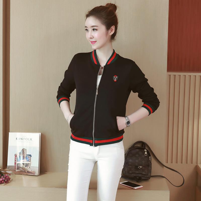 Contrast Baseball Jacket Womens short 2017 autumn Korean casual sports jacket loose air layer coat