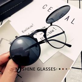 上翻双层翻盖墨镜圆形金属蒸汽朋克太阳眼镜个性搞怪男女彩膜墨镜图片