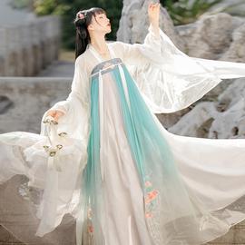 古装唐代中国风春款春秋季初中学生平价古筝表演服装大人少女汉服