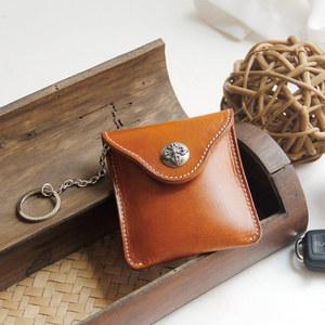 原创手工头层牛皮小腰包牛皮男潮欧美小男包钥匙包零钱包可穿皮带