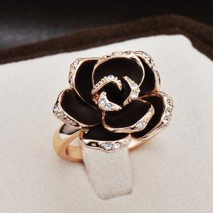 黑色玫瑰网红个性潮人女欧美复古镶钻大时尚夸张装饰食指戒指指环
