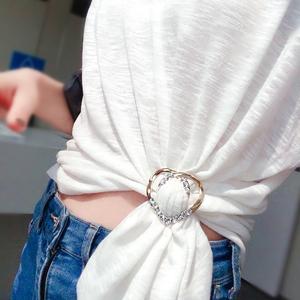 衣角t恤下摆打结扣环丝巾扣夹两用百搭简约小衣服韩版高档饰品女