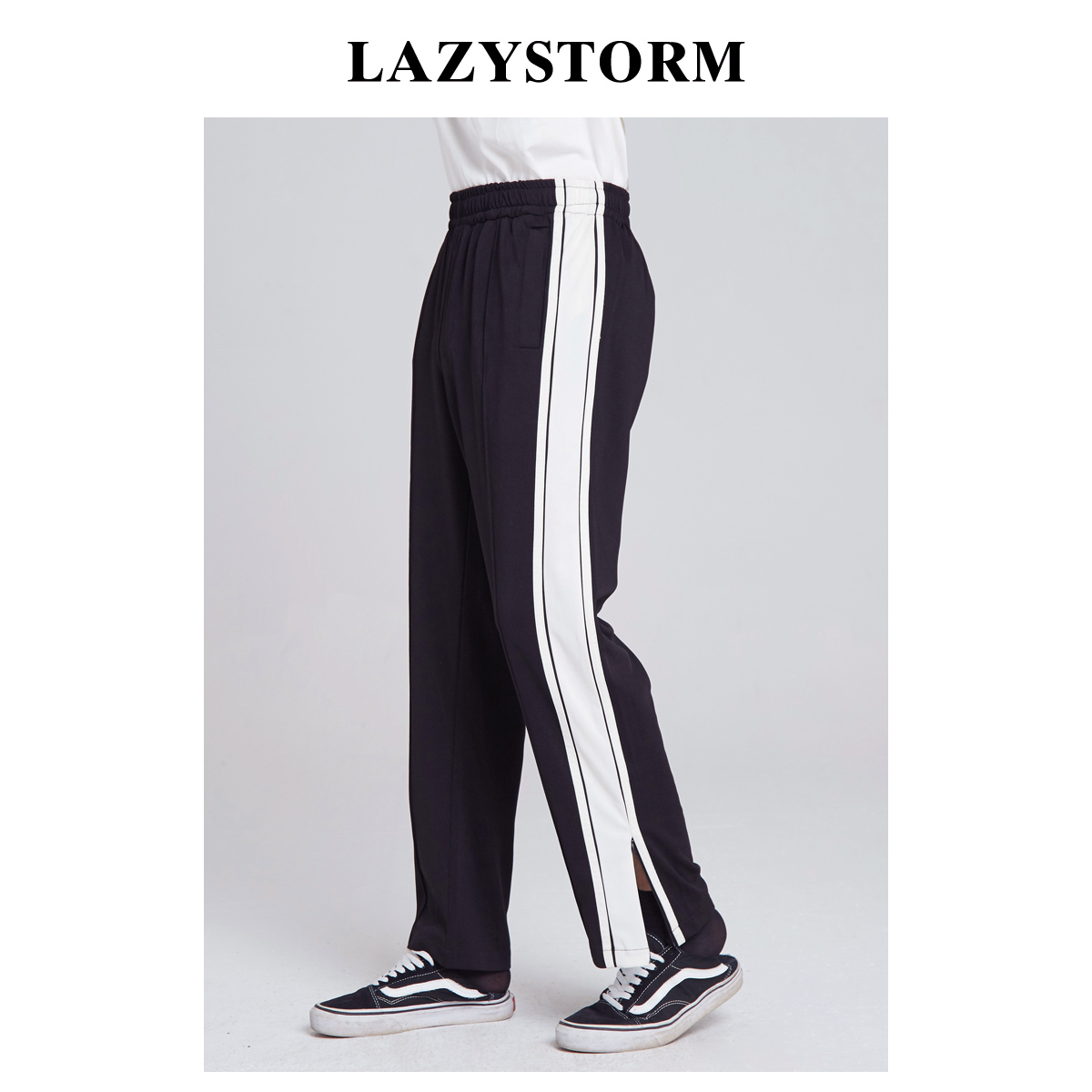 Lazystorm2020 autumn new white edge sports casual pants mens trousers with zipper elastic waist
