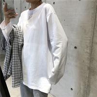 t恤纯棉2021秋季新款长袖女学生白色潮韩版宽松慵懒风打底衫上衣