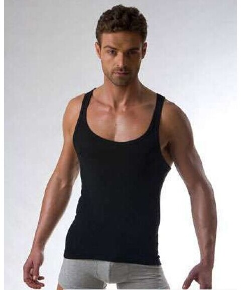 Fashion vest mens summer mens large round neck tight cotton vest fitness sports sexy slim low neck top
