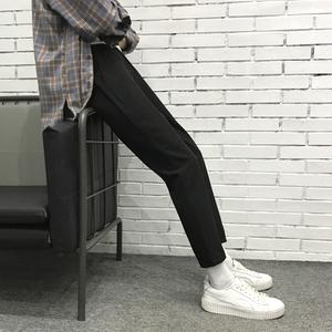 九分裤男潮流百搭学生西裤夏季薄款裤子男装韩版休闲裤黑色西装裤