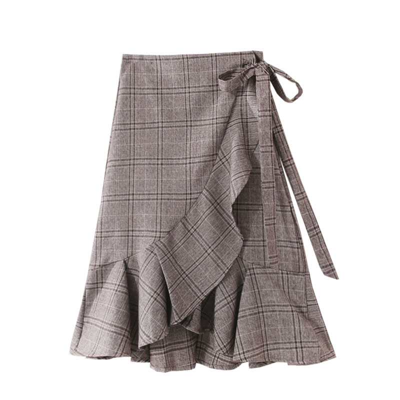 New Winter Plaid Slimming One-Piece Fish-Tail Package Hip Mid-Length Retro Step Skirt A- Line Skirt