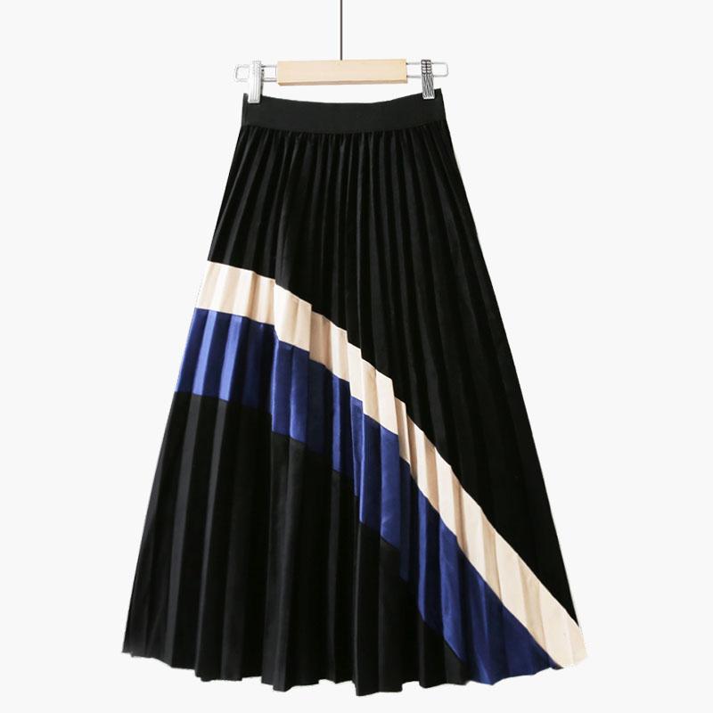 2019春秋新款金丝绒撞色拼接半身裙(用160.1元券)