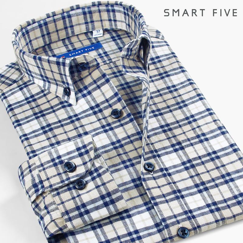 第五季 格子衬衫外套加厚纯棉商务休闲磨毛衬衣长袖男装保暖寸衫