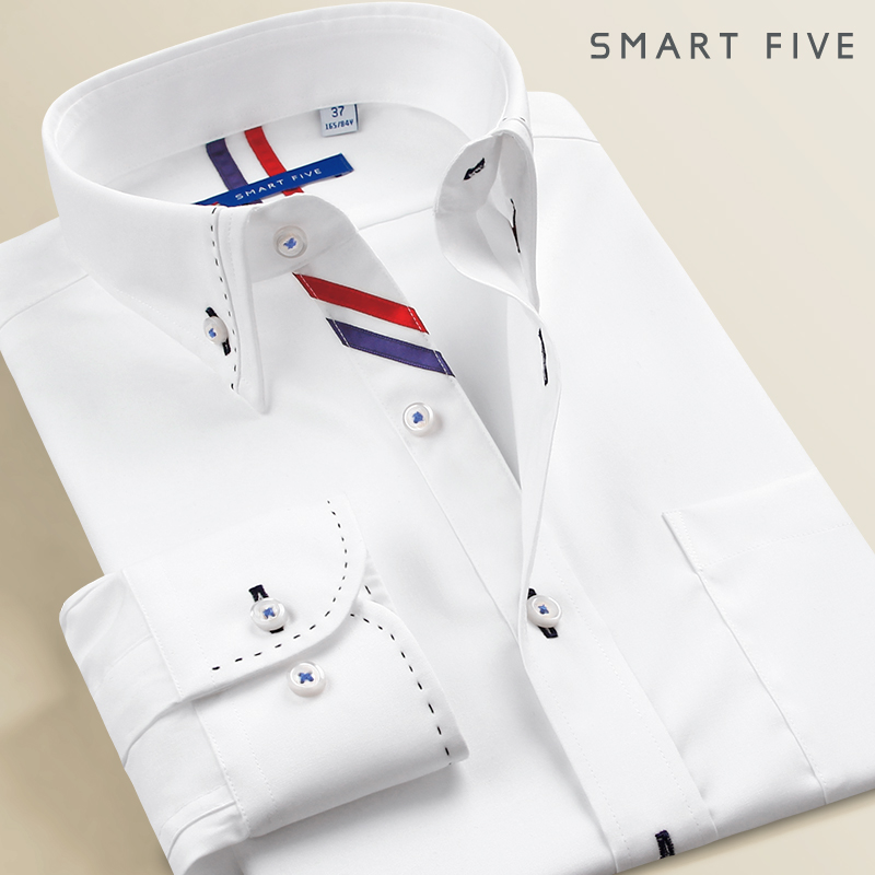 White shirt trend splicing fashion business Korean solid color shirt spring with slim men's long sleeve inch shirt