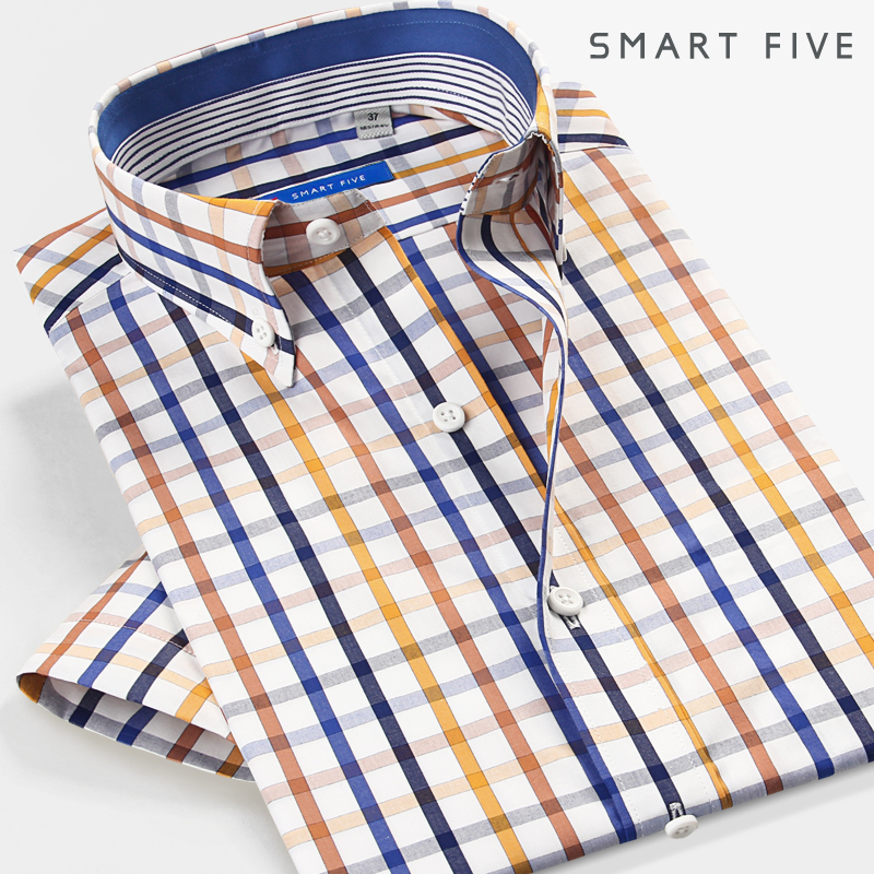 Short sleeve shirt men's summer thin business casual Plaid Shirt high level sense slim cotton shirt Korean Trend