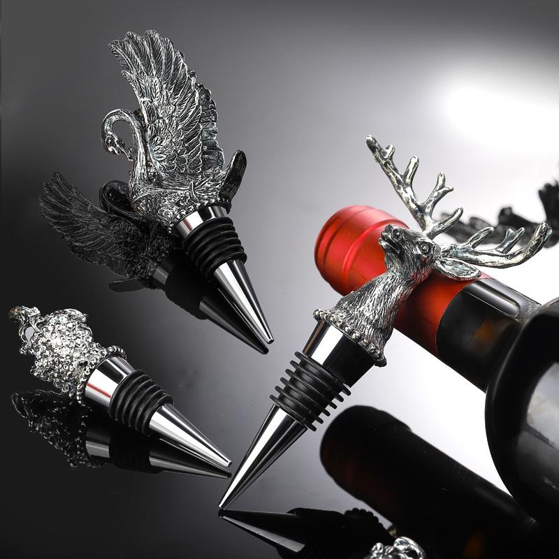 家用红酒塞 密封保鲜葡萄酒瓶塞鹿头酒瓶盖 创意动物酒具塞摆件 Изображение 1