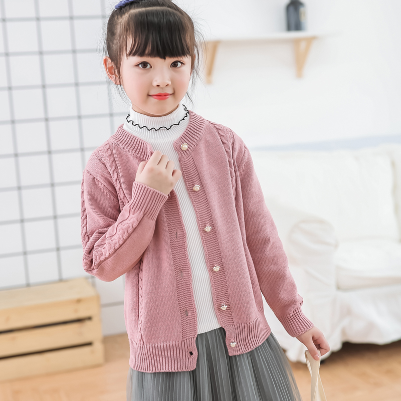 Girls sweater cardigan childrens autumn clothes 2020 new sweater middle school and university childrens Korean jacket little girls sweater