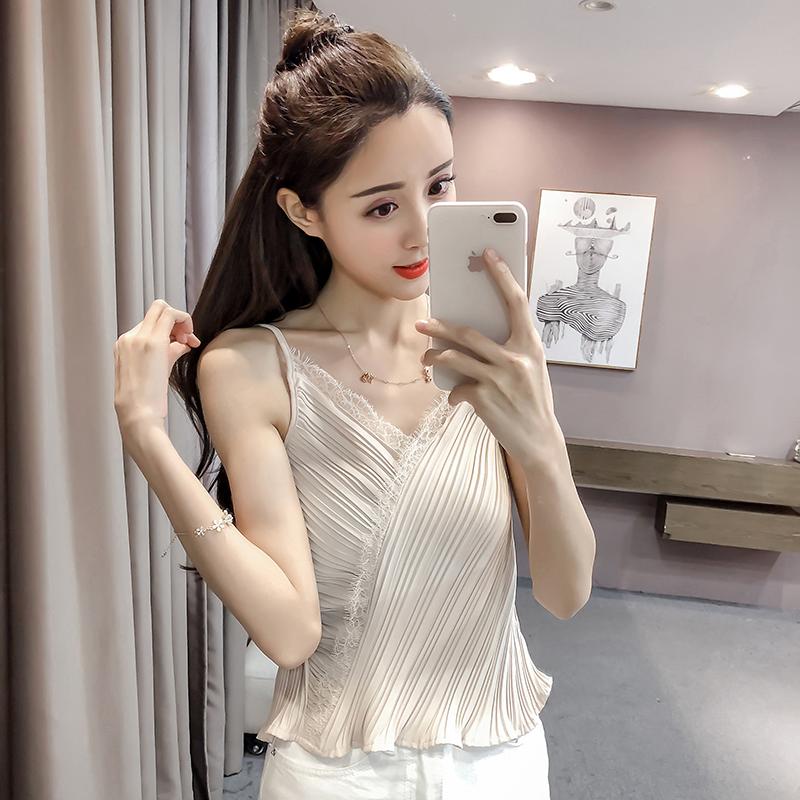 钩花蕾丝拼接V领吊带背心女2018夏装新款韩版雪纺短款修身上衣潮