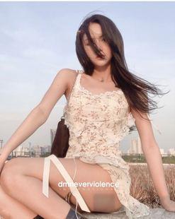 dumm.fr越南代購超美小眾設計碎花裙吊帶束腰綁帶性感連衣裙氣質