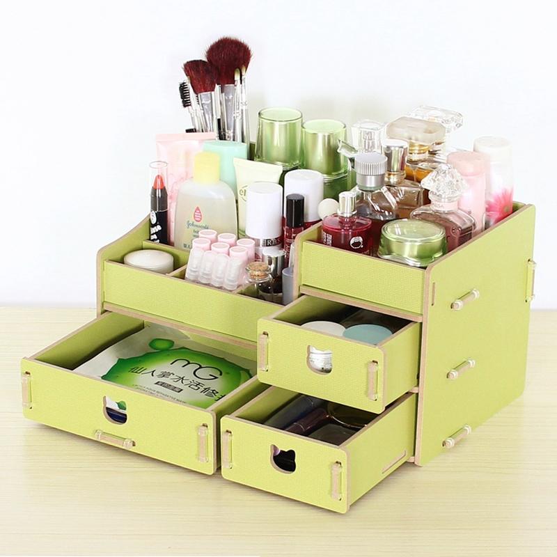DIY木製化妝品收納盒大號抽屜式護膚品首飾盒防塵梳妝台收納盒