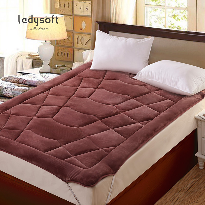 御棉堂纯色法兰绒床垫保暖单人双人加厚珊瑚绒床褥子榻榻米床垫,可领取15元天猫优惠券