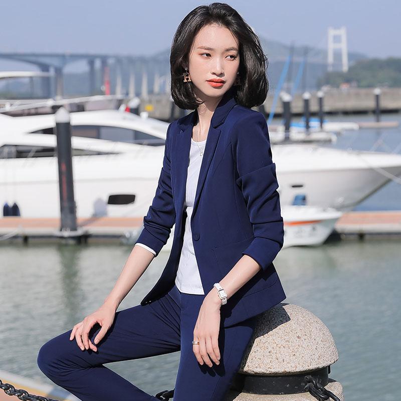 Long sleeve suit coat female ol commuter one button large pocket slim fit professional suit skirt pants dark blue black
