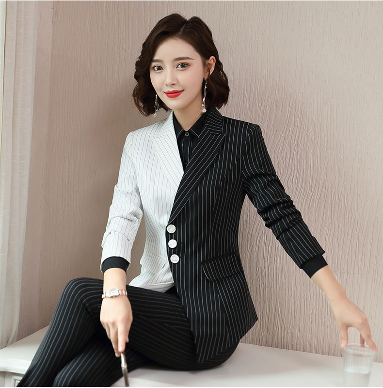Three button long sleeve suit coat female ol commuter Slim Fit Black and white stripe stitching contrast color professional suit large