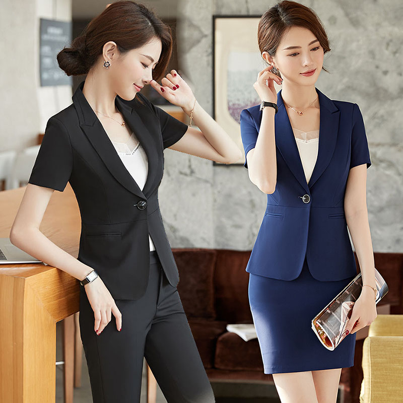 Short sleeve suit coat womens summer dress new ol commuter slim fit one button dark blue black professional suit skirt